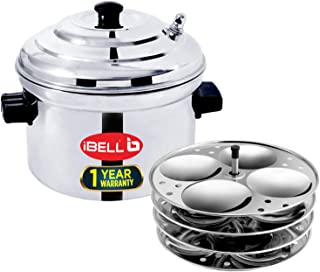 IBELL Stainless Steel 4-Plates Idly Cooker, Induction and Gas Stove Compatible Idli Maker (Silver; 16 Idlies)