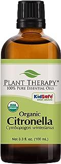 Plant Therapy Citronella Organic Essential Oil 100% Pure, USDA Certified Organic, Undiluted, Natural Aromatherapy, Therapeutic Grade 100 mL (3.3 oz)