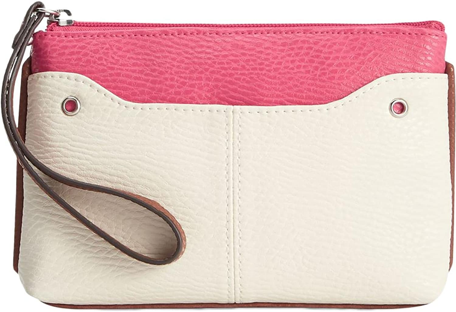 Style & Co. Womens Palmer Faux Leather colorblock Wristlet Wallet Pink O S