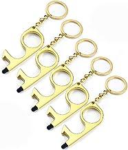 8 PCS EDC Door Opener Door Handle The Contactless Button Tool,The Elevator Button Open, Simple Hand Brass Door Opener & St...