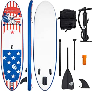 Goplus Inflatable SUP Stand up Paddle Board Latest Inkjet Process Anti-Fading iSUP with 3 Fins Thuster, Adjustable Paddle, Hand Pump and Carry Backpack