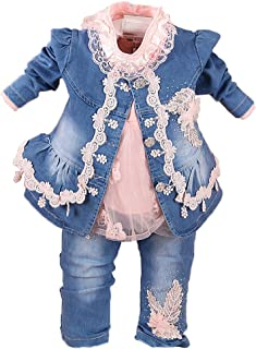 Yao Spring Autumn Infant Little Baby Girls Clothing Set 3 Pieces Sets T Shirt Jacket and Jeans