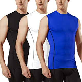 Tesla Mens R Neck Sleeveless Muscle Tank Dry Compression Baselayer