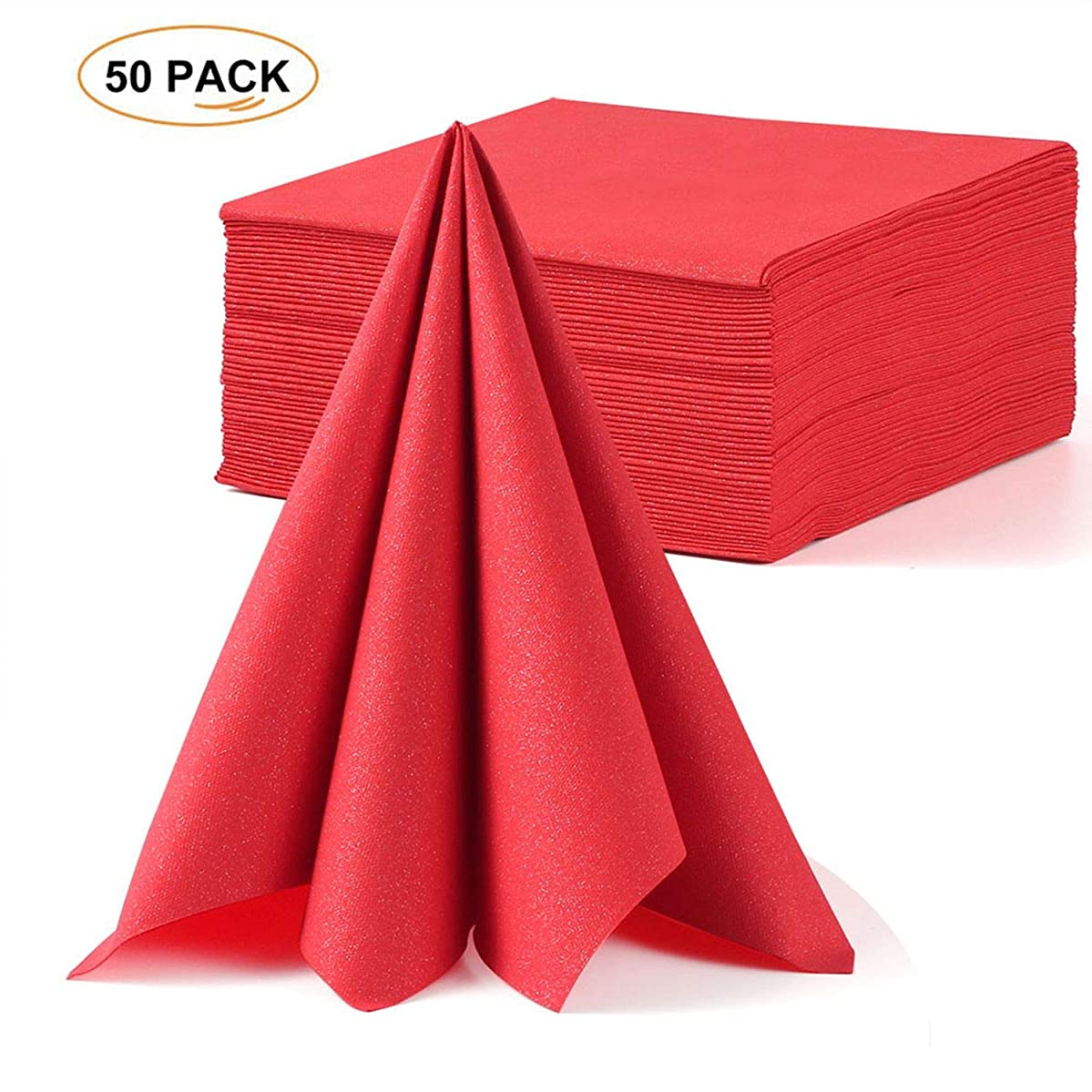 LEKOCH Red Wedding Napkin Linen Feel Guest Towel   Air-laid Dinner Napkin   Disposable Premium Napkins for Wedding, Anniversary 16
