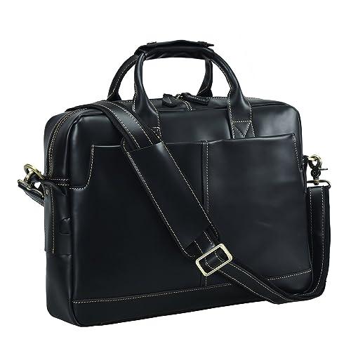 6e6d29c563e Texbo Genuine Full Grain Leather Men s 16 Inch Laptop Briefcase Messenger  Bag Tote (Black)