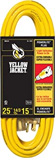 Yellow Jacket 2886 UL Listed 14/3 15 Amp Premium SJTW 25' (7.62M) Extension Cord with Grounded (3 prong) Lighted Receptacle End, 25 Foot, Yellow