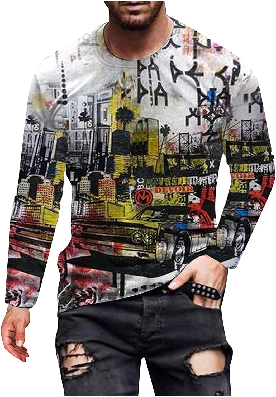 HONGJ Soldier Long Sleeve T-shirts for Mens, Fall Street Abstract Art Portrait Print Workout Athletics Crewneck Tee Tops