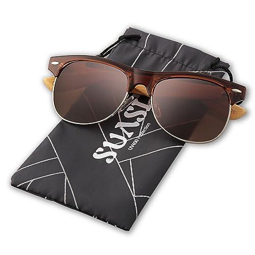 2457768b986 SUASI Aviator Sunglasses with Half Frame Bamboo Legs for Mens Womens Wooden  Sunglasses Zm00140 (brown