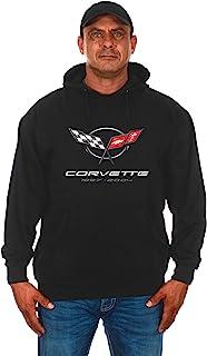 JH DESIGN GROUP Mens Chevy Corvette Hoodie C5 Series Logo Black Sweatshirt