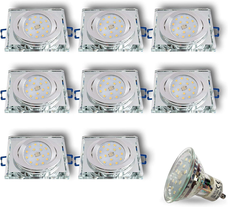 LED Einbaustrahler aus Glas Spiegel Klar CRISTAL-S Eckig Schwenkbar Inkl. 8 x 4W LED Kaltweiss 230V IP20 LED Deckenstrahler Deckeneinbaustrahler Einbauspot Deckeneinbauleuchte Deckenspot Clear