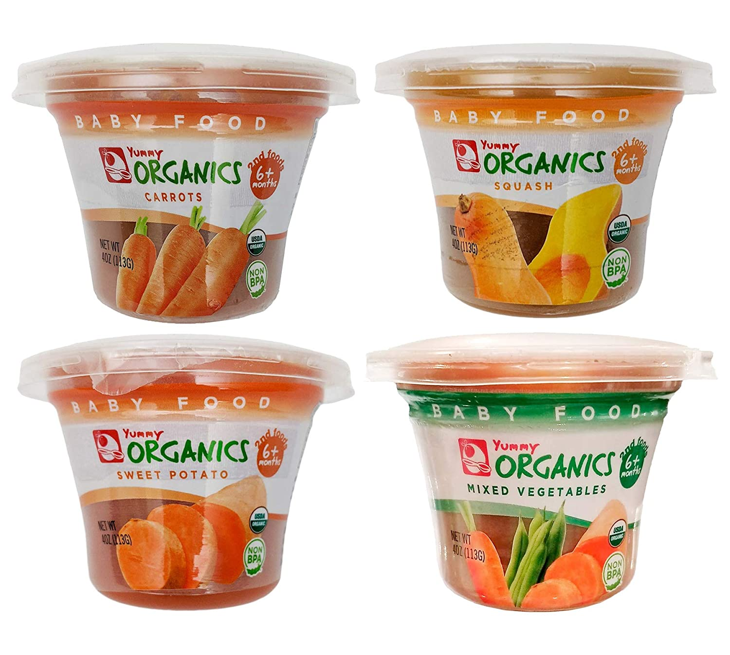 Yummy Organics Baby Food - Organic Puree, Non-GMO, Gluten-Free, No Added Sugar or Salt, Resealable and Reusable BPA-Free Cups, Vegetable Variety Pack (Carrots, SwtPot, Squash, Mixed Veggies), 12 Pack