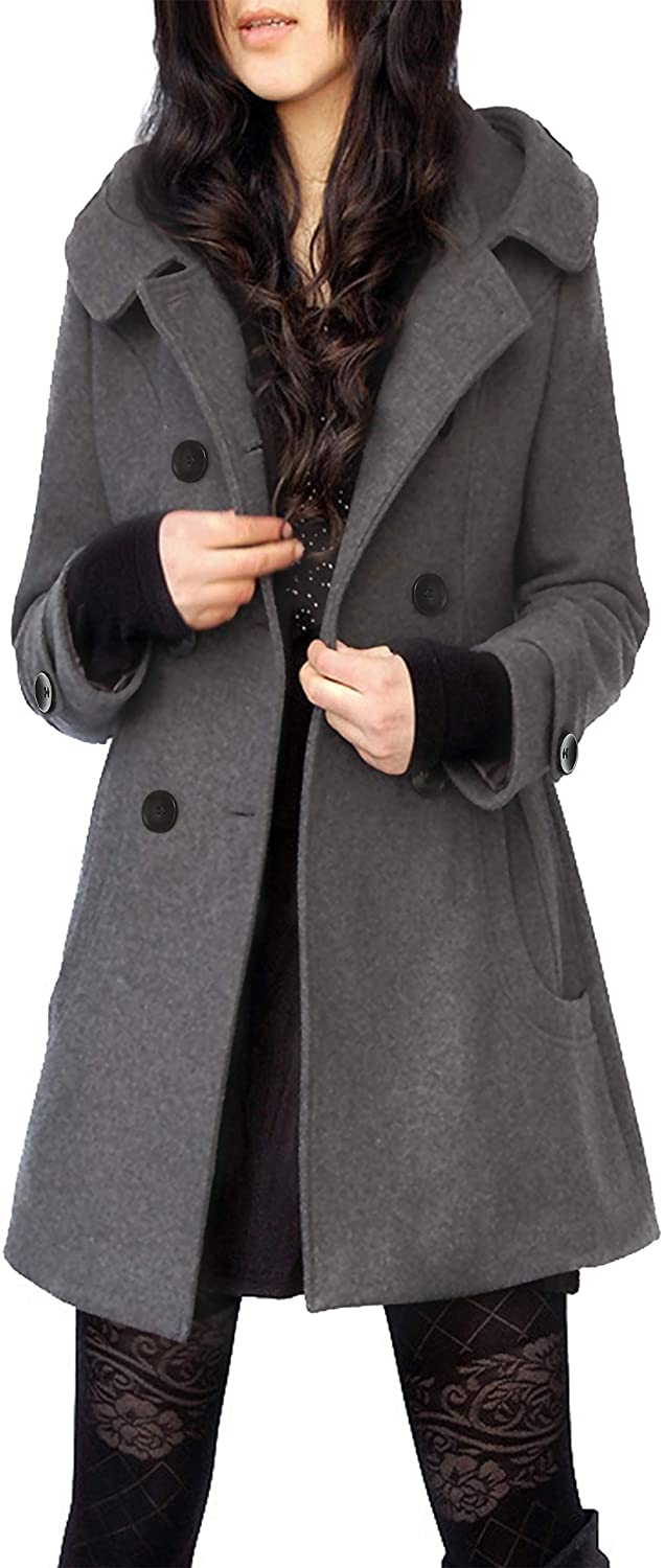 Tanming Women's Warm Double Breasted Wool Pea Coat Trench Coat Jacket with Hood