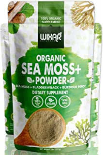 Wixar Organic Sea Moss Supreme Powder - (8 Ounces) - Natural Irish Sea Moss and Bladderwrack with Burdock Powder - Vegan Non-GMO - Thyroid, Healthy Skin, Keto Detox, Joint Support Alkaline Supplements