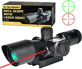 MidTen Rifle Scope 2.5-10X Dual Illuminated Mil-dot Gun Scopes with Red Laser & 20mm Mounts