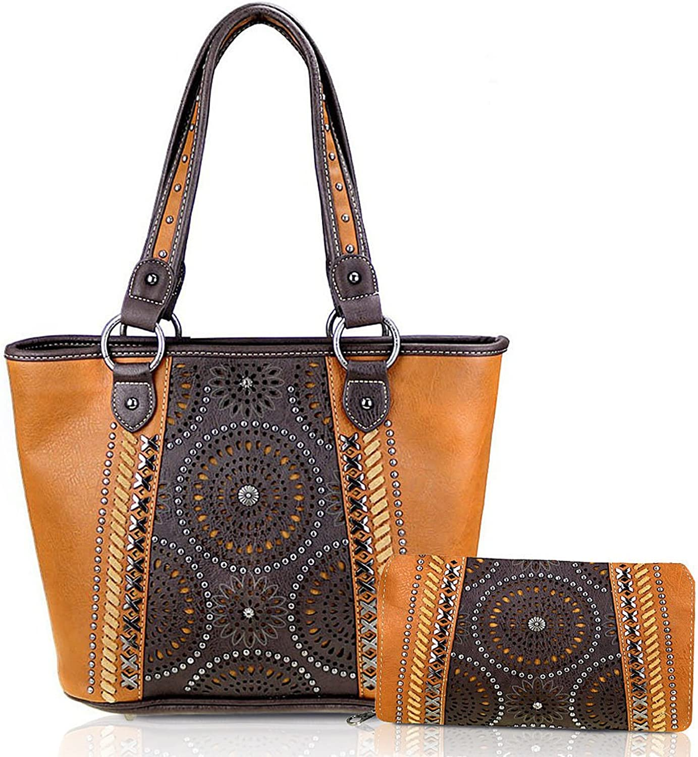 Montana West Concealed Carry, Perforated Layered Floral Tote + Wallet Brown