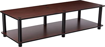 """Furinno Just No Tools Dark Cherry Wide Television Stand with Black Tube, Dark Cherry/Black, Wide 41.3""""(W)x10.9""""(H)x15.6""""(D)"""