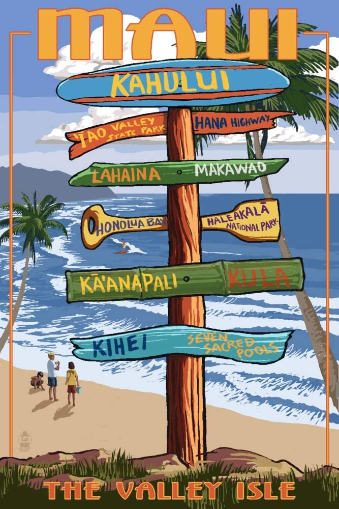 Maui Hawaii Signpost 16x24 Giclee T Print Gallery New High quality new popularity Wall Decor