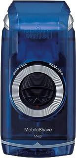 Braun PocketGo M60b MobileShave - Afeitadora eléctrica para hombre portátil, máquina de afeitar barba, color transparente azul