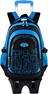 Wheeled Backpack for Boys, Fanspack Rolling Backpack with Wheels Kids Rolling Bookbags Boys Roller Backpack
