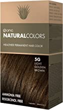 ONC NATURALCOLORS 5G Light Golden Brown Healthier Permanent Hair Color Dye 4 fl. oz. (120 mL) with Certified Organic Ingredients, Ammonia-free, Resorcinol-free, Paraben-free, Low pH, Salon Quality, Ea
