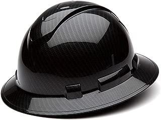 Pyramex Ridgeline Full Brim Hard Hat, 4-Point Ratchet Suspension, Shiny Black Graphite Pattern