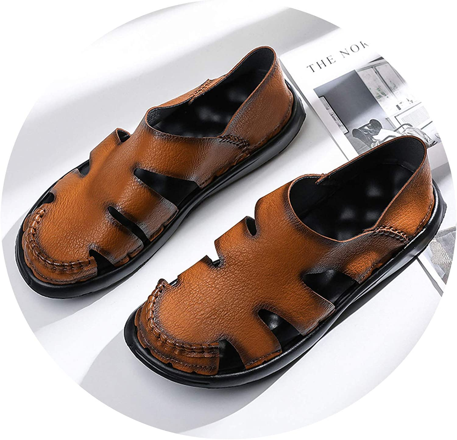 Ting room Men Cow Leather Sandals Outdoor 2019 Summer Handmade Men shoes Men Breathable Casual shoes