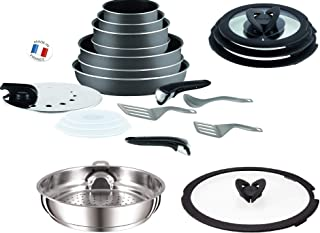 Tefal Ingenio 21 Piece Pan, Steamer and Accessory Set Anthracite Grey Non Induction