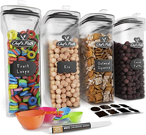 new arrival Cereal Containers Storage Set, Airtight Food Storage Containers, Kitchen & Pantry Organization, 8 Labels, Spoon Set & Pen, Great outlet sale for Flour - new arrival BPA-Free Dispenser Keepers (135.2oz) - Chef's Path (4) outlet sale