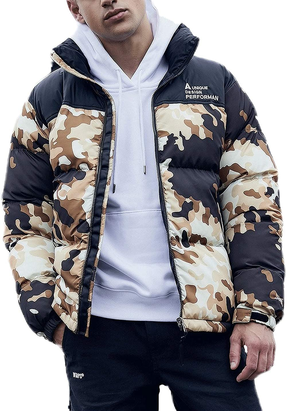 D.B.M Men's Fashion Stand Collar Letter Embroidery Printed Camouflage Coat