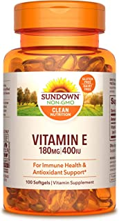 Vitamin E by Sundown, For Immune Support and Antioxidant Support, Gluten Free, Dairy Free, 100 Softgels (Packaging May Vary)