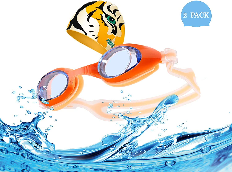 BeeSchool 子供用水泳ゴーグル 水泳キャップ 曇り止め 水泳ゴーグル 紫外線防止 ソフト 漏れなし 4~10歳の子供に最適 (ライトブルーゴーグル/ブルー水泳キャップ)