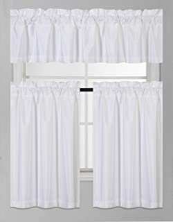 Fancy Collection 3 Pieces Faux Silk Blackout Kitchen Curtain Set Tier Curtains and Valance Set Solid White Window Set Thermal Backing Drapes Assorted Colors New