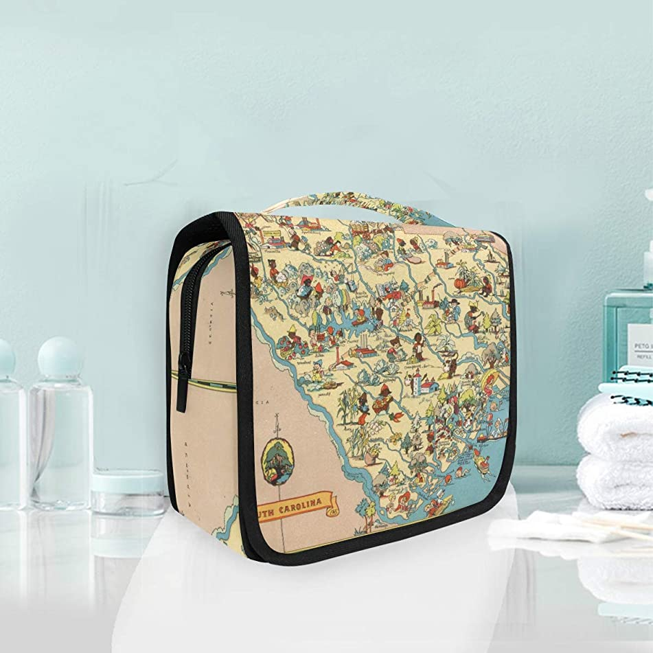 Vintage 1935 South Carolina State Map Large Hanging Toiletry Bag Waterproof Cosmetic Bag Makeup Travel Pouch Purse Organizer Wash Gargle bag