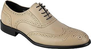 Beige Real del cordón de Cuero de los Hombres hasta Zapatos de Vestir del Extremo del ala Brogue Oxfords Casual Formal