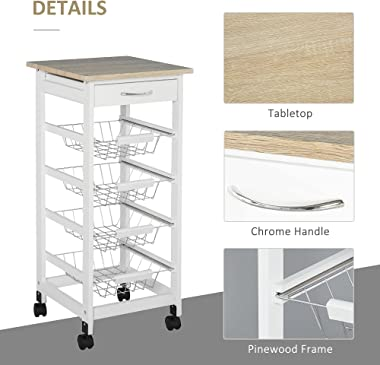 """HOMCOM 32.25"""" Wooden Rolling Kitchen Storage Cart on 360° Swivel Wheels with Ample Storage Space & Solid Structure Wh"""