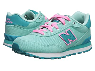 New Balance Kids 515v1 Canvas (Little Kid/Big Kid) (Light Tidepool/Neon Aqua Blue) Girls Shoes