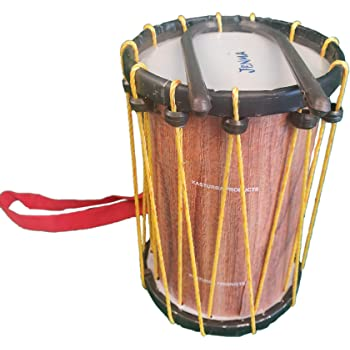 Indian Made Kids Drum Musical Toy (Chenda, Dhol) with Sticks and Hanging Thread - Medium Size
