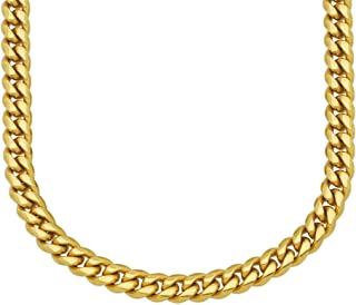Premium 18KT Real Gold Electroplated Stainless Steel Solid Miami Cuban Link Chain, Secure Box Lock. In Widths 6MM, 8MM, 10MM, 12MM, 14MM, 18MM and in Lengths 8