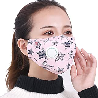 Jonty™ Vritraz Pink Print Replacable Filter PM 2.5 N95 Anti Pollution Activated Carbon Dust Face Mask with Breathing Valve