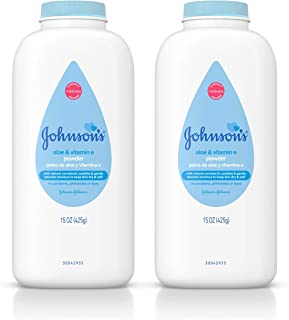 Johnson's Baby Powder, Naturally Derived Cornstarch with Aloe & Vitamin E for Delicate Skin, Hypoallergenic and Free of Pa...