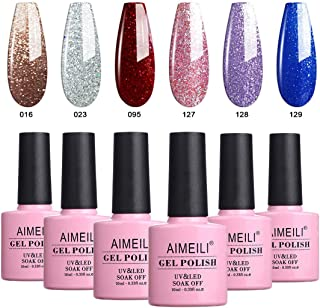 AIMEILI Soak Off UV LED Gel Nail Polish Multicolour/Mix Colour/Combo Colour Set Of 6pcs X 10ml - Kit Set 29