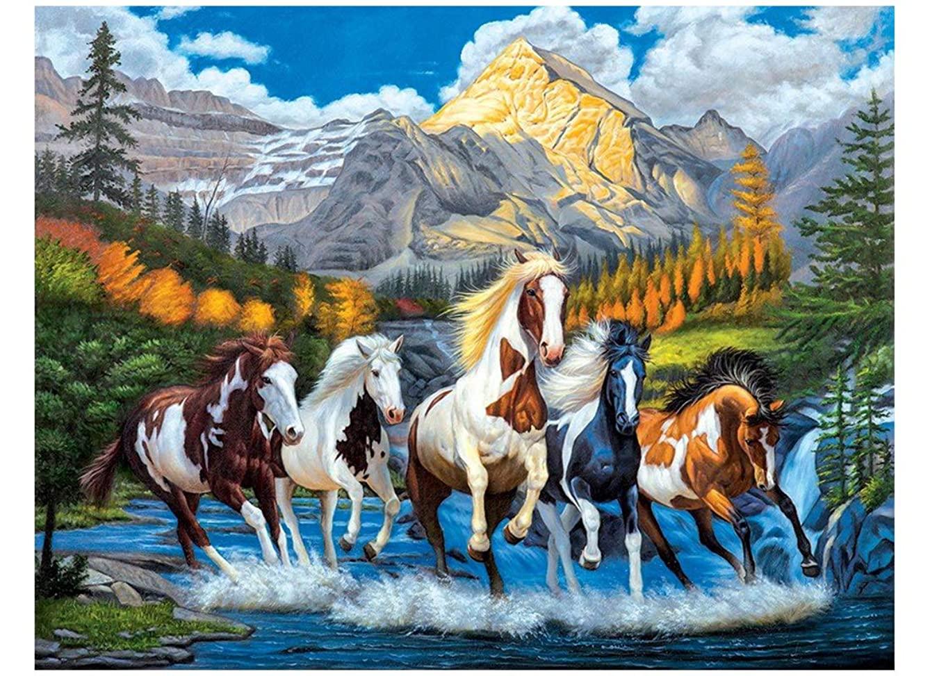 Blxecky 5D Diamond Painting by Number Kits, Crystal Rhinestone Diamond Embroidery Paintings Pictures Arts Craft for Home Wall Decor, Full Drill, ,Horse(30X40CM/12X16inch)