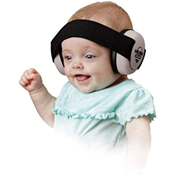 Hush Gear Baby Noise Cancelling Headphones for Babies Infant Ear Protection - 28.6db Sound Reduction Baby Ear Protection Ear Muffs - Adjustable Elastic Headband for Secure Comfortable Fit, Grey