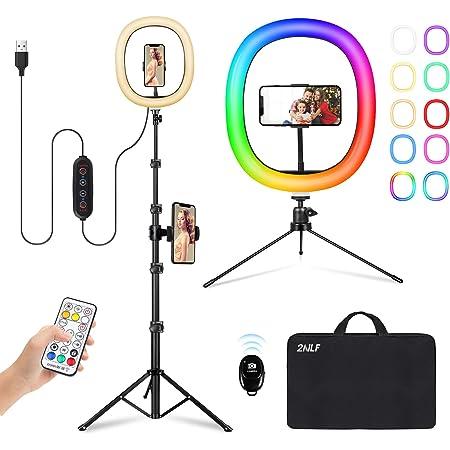 "2NLF Aro de Luz con Tripode 12"" RGB Anillo de Luz LED con Estable Trípode Soporte 61"" Altura Regulable 26 Colores 10 Brillos Regulables Control Remoto Inalámbrico para Movil TikTok Selfie Maquillaje"