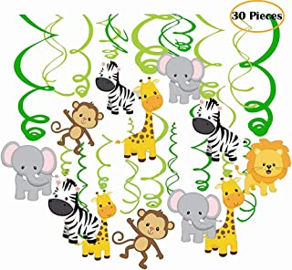 Packingmaster 30Ct Jungle Animals Hanging Swirl Decorations for Forest Theme Birthday Baby Shower Festival Party