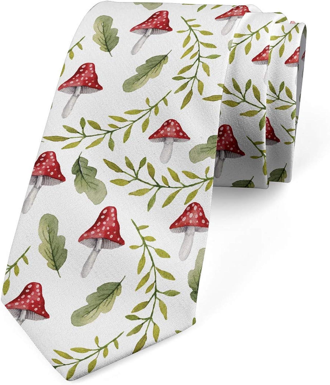 Ambesonne Necktie, Leaves Forest Elements, Dress Tie, 3.7