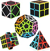 Speed Cube Set [5 Pack] Libay Cube Bundle 2x2 3x3 Megaminx Pyramid Skew Cube Carbon Fiber Sticker Magic Cube Puzzle Toys for Kids and Adults