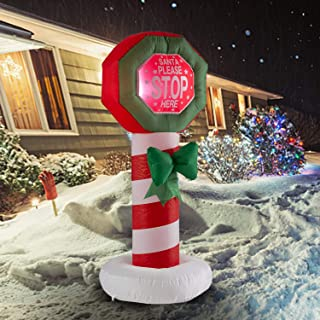 wonline 4ft Tall Christmas Inflatable Santa Stop Here Sign Blow Up Outdoor Yard Garden Lighted Christmas Decorations