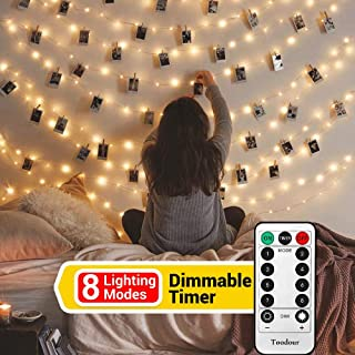 Toodour 40 LED Photo Clips String Lights with Remote Control, 8 Lighting Modes Photo Hanging Fairy String Lights for Bedroom, Memorial Day, Wedding, Birthday Party Occasions Decor (Warm White)
