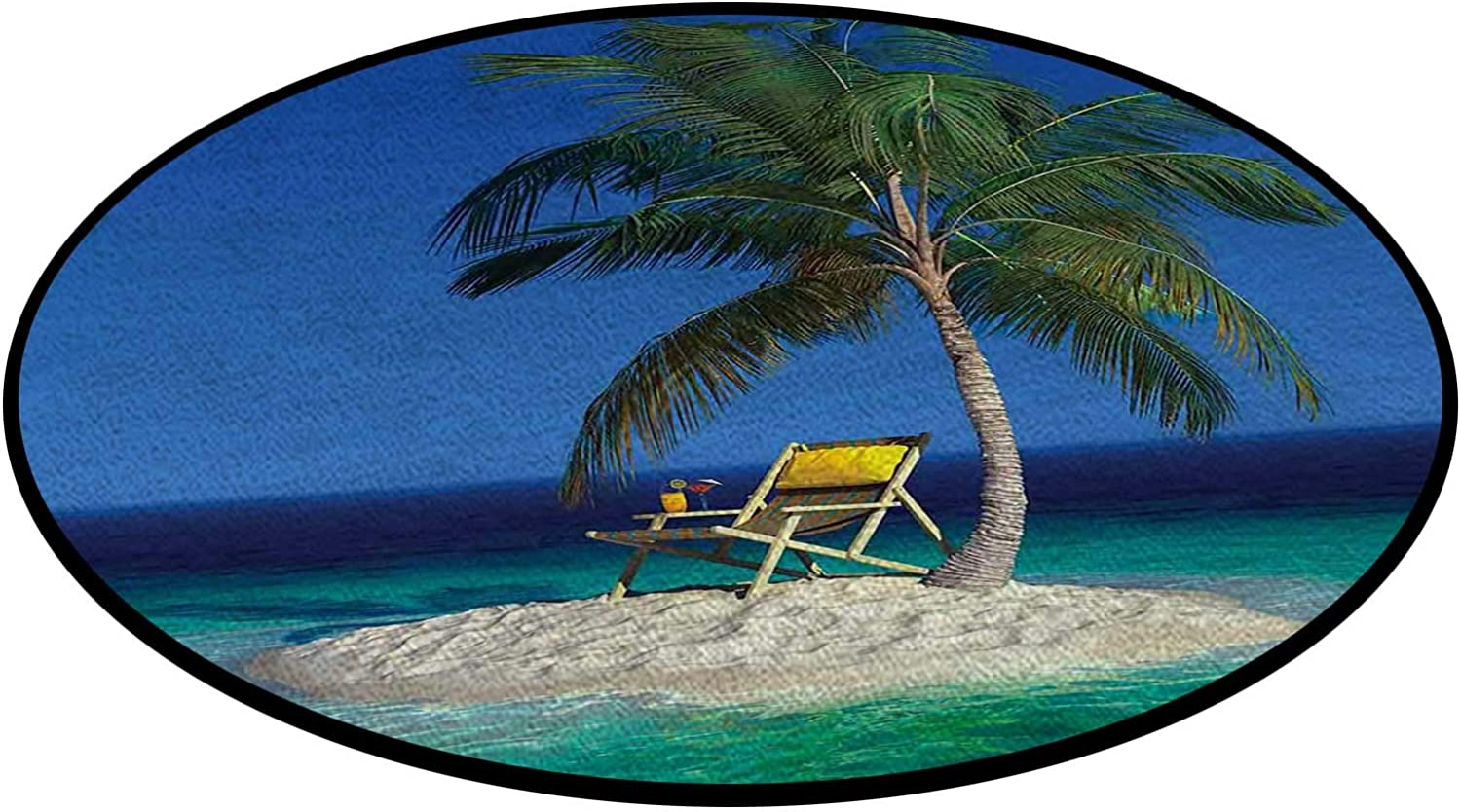 shipfree Chair Under a Palm Tree Round Weekly update Ma Area Floor Decorative Rug